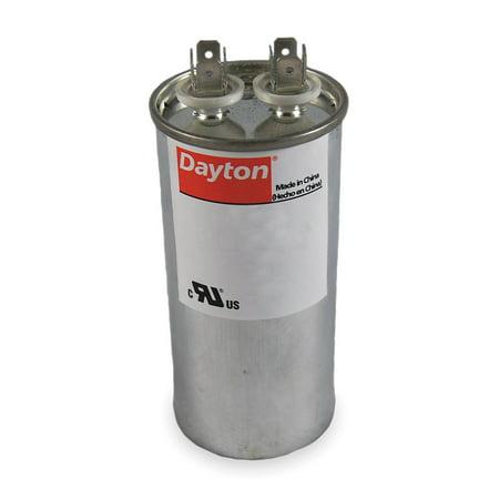Dayton Round Motor Run Capacitor, 100 Microfarad Rating, 370VAC Voltage - 6FLP2