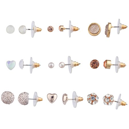Lux Accessories Rose Gold Tone Faux Rhinestone Pearl Crystals Earrings Set of 9