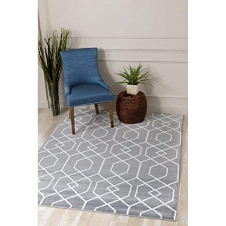3355 Gray Moroccan Trellis Area Rug Carpet Large New