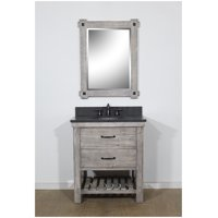 "30"" RUSTIC SOLID FIR SINGLE SINK VANITY IN GREY DRIFTWOOD WITH LIMESTONE TOP-NO FAUCET"