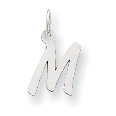 Lex & Lu Sterling Silver Small Initial M Charm (Cap Silver Charm)