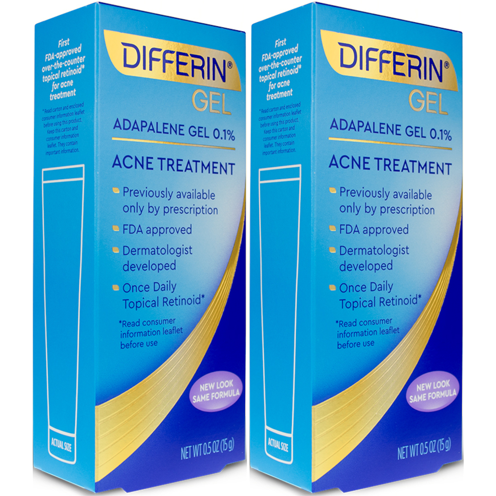 2 Pack Differin Adapalene Gel 0.1% Acne Treatment, 0.5 Oz Each