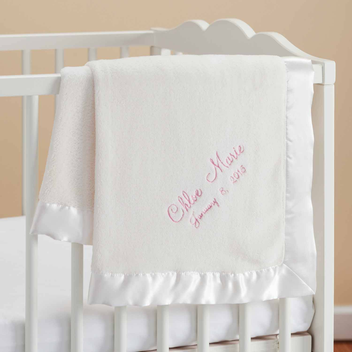 Personalized New Baby Girl Blanket - Cream Baby Blanket