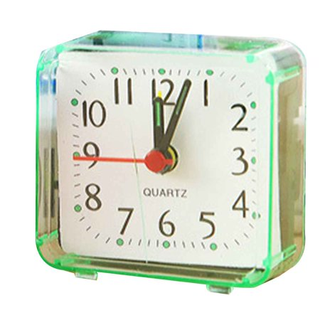 Holiday Clearance Square Small Bed Alarm Clock Transparent Case Compact Travel Clock Mini Children Student Desk Watch