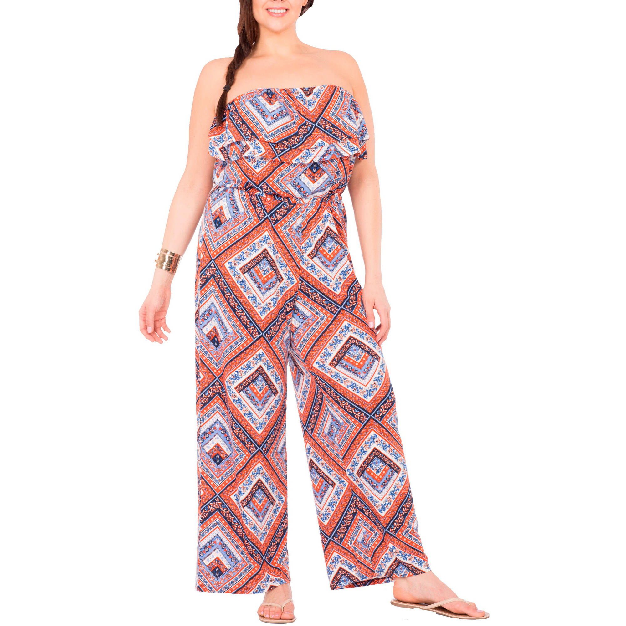 Plus Moda Women's Plus-Size Pretty Peasant Flounce Top Jumpsuit with Removable Straps
