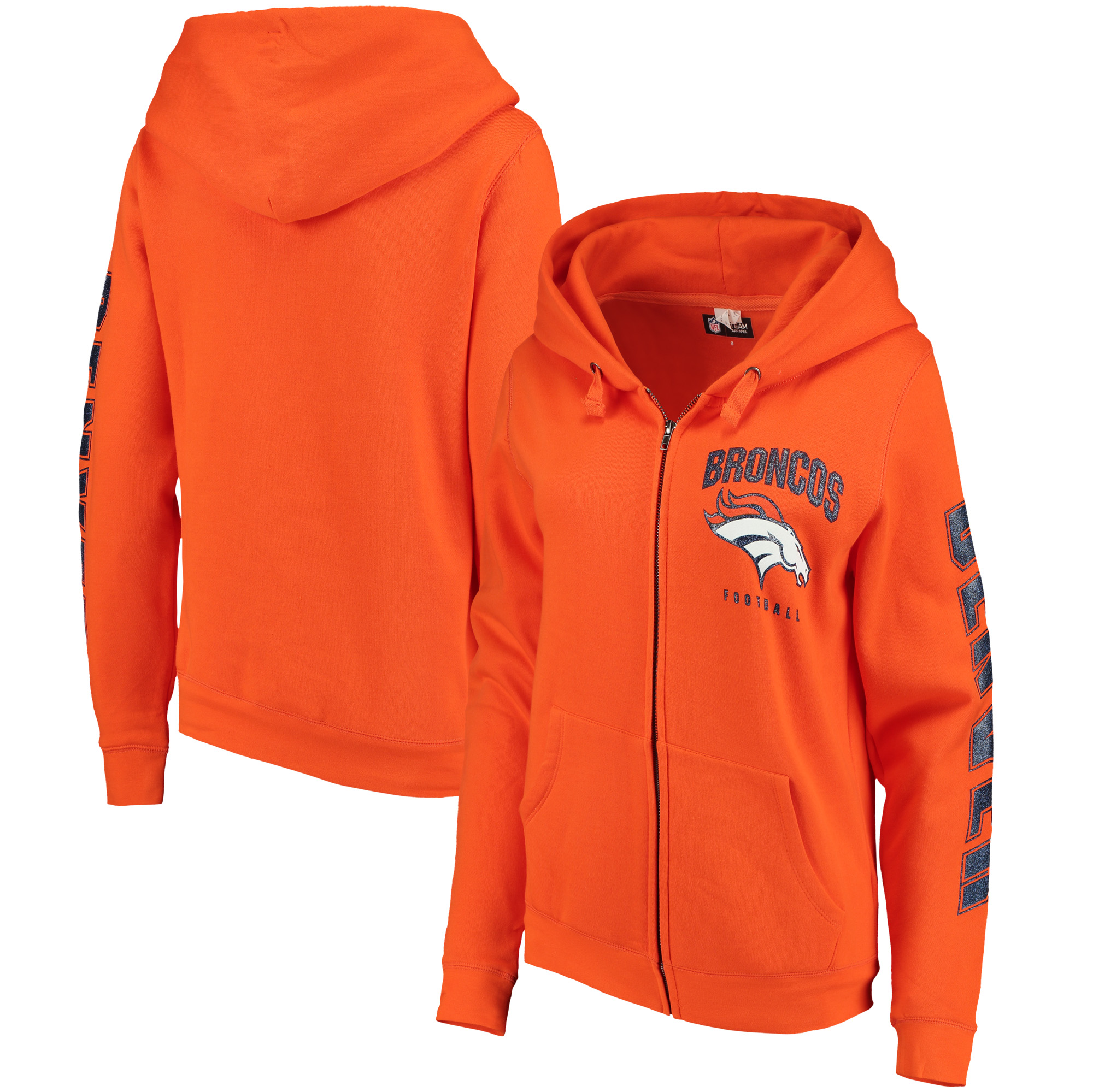 Denver Broncos New Era Women's Playbook Glitter Sleeve Full-Zip Hoodie - Orange