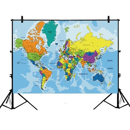 PHFZK 7x5ft Educational Backdrops, Colorful World Map Photography Backdrops Polyester Photo Background Studio Props - Mlp Background
