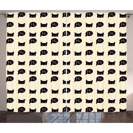 - Cat Curtains 2 Panels Set, Young Black Kitties Sneaking on and Saying Hi Lovely and Playful Domestic Pets, Window Drapes for Living Room Bedroom, 108W X 90L Inches, Ivory Black Ruby, by Ambesonne
