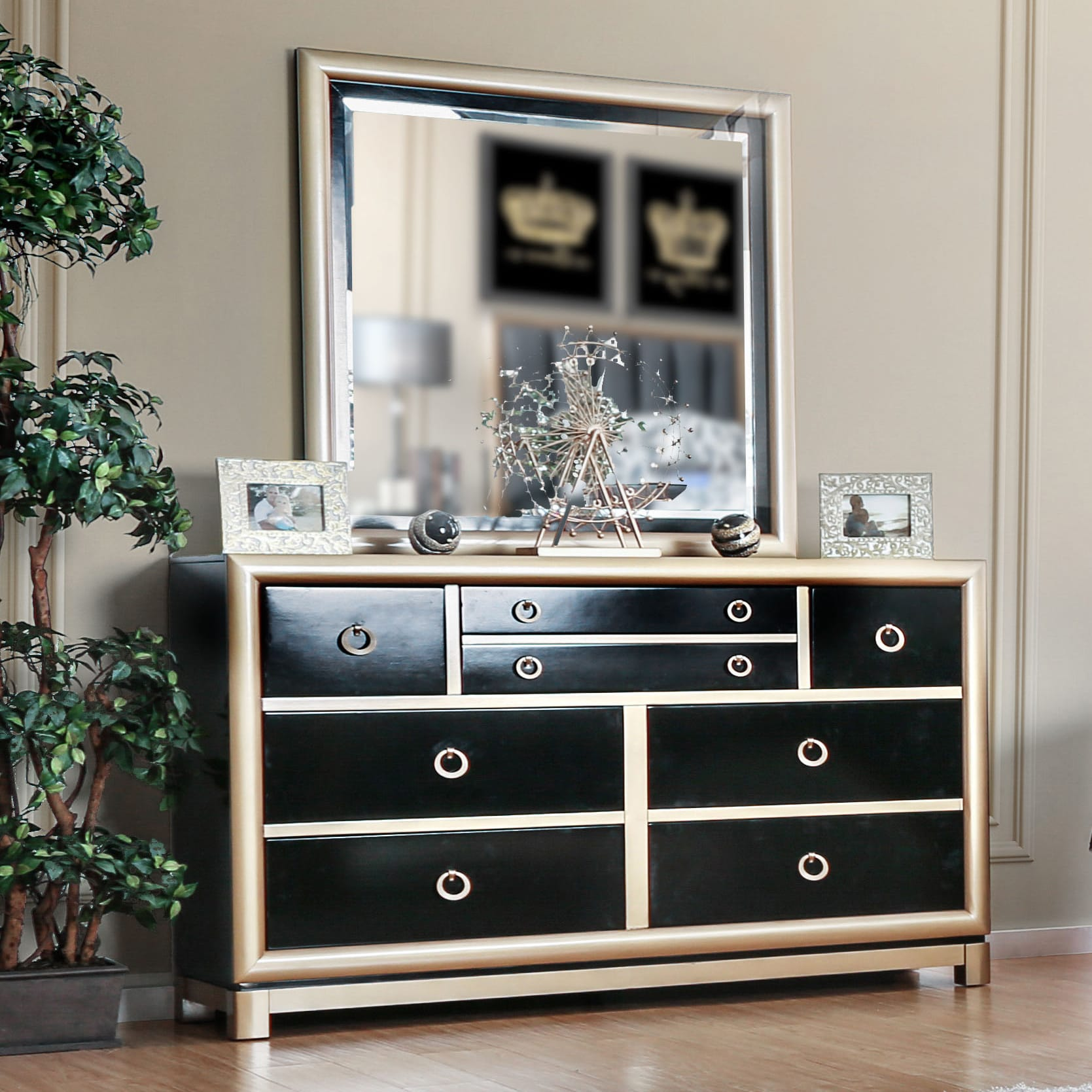 Furniture of America  Lopex Contemporary 2-piece Two-tone Black/Gold Dresser and Mirror Set