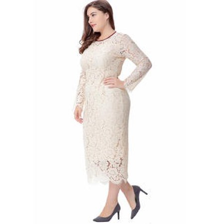 Unomatch - Women Plus Size Elegant Style Party Dress White ...