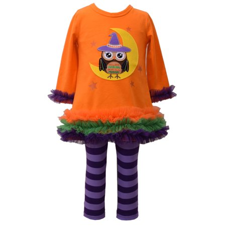 Halloween Outfit Girls Orange Owl Witch Legging Tunic Set 3-6 - Halloween Witches Outfits