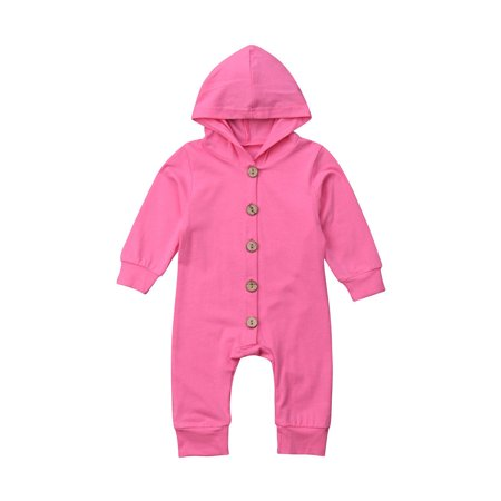 Baby Boys Girls Soft Cotton Long Sleeved Hooded Single-breasted Romper Cute Infant Jumpsuits Kids Sleepwear - image 1 of 7