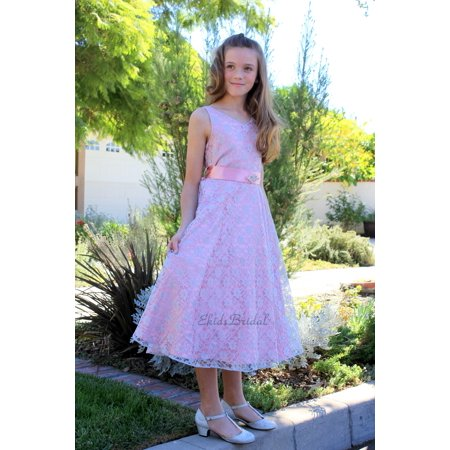 Ekidsbridal Wedding Floral Lace Overlay V-Neck Flower girl dress Rhinestone Pageant Communion Junior Bridesmaid Recital Easter Holiday Birthday Formal Events Baptism Occasions dusty rose 166s - Rockabilly Halloween Events