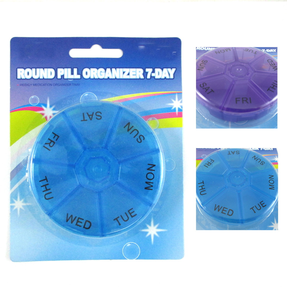 2 Round 7 Day Pill Box Medicine Organizer  Daily Weekly Medication Holder Travel