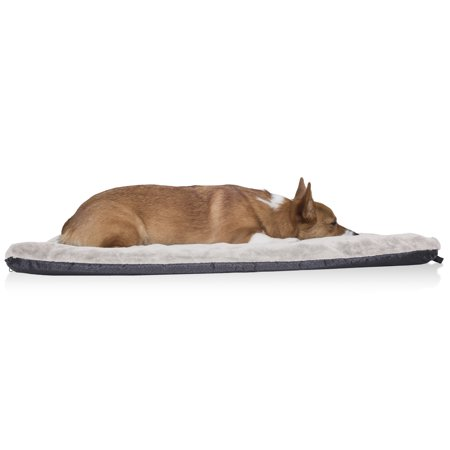 FurHaven Pet Kennel Pad | Orthopedic Faux Lambswool & Sherpa Pet Mattress for Crates & Kennels, Cream, Medium