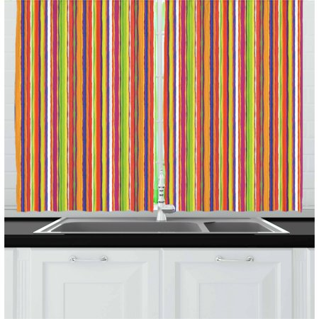 - Stripes Curtains 2 Panels Set, Hand Drawn Barcode Style Lines Rainbow Colored Abstract Geometric Illustration, Window Drapes for Living Room Bedroom, 55W X 39L Inches, Multicolor, by Ambesonne
