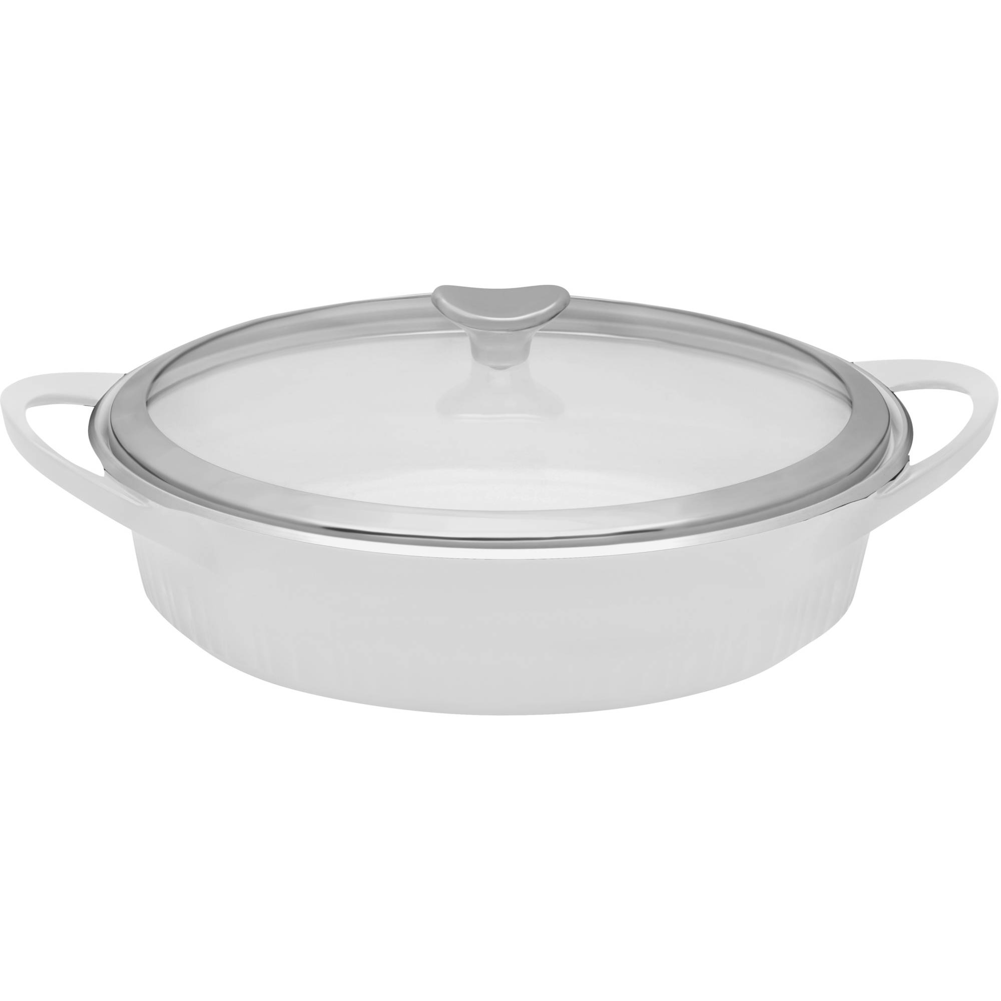 CorningWare 4-Quart French White Cast Aluminum Braiser with Glass Cover by World Kitchen LLC
