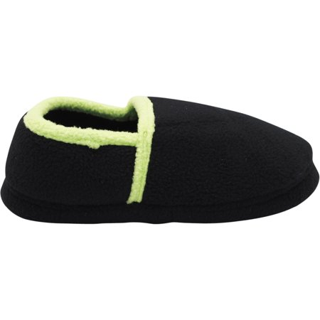 Norty Toddler Boy's Kids Fleece Memory Foam Slip On Indoor Slippers Shoe 40830-7MUSToddler Black/Lime