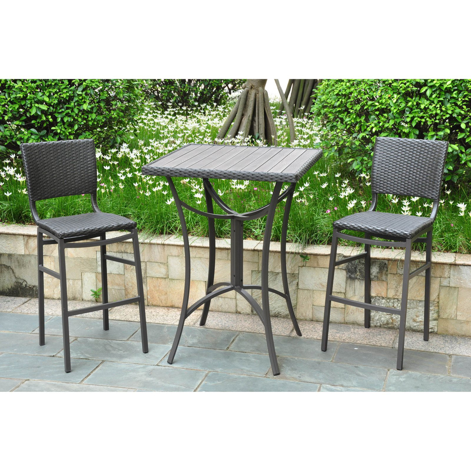 International caravan barcelona resin wicker bar height bistro set walmart com