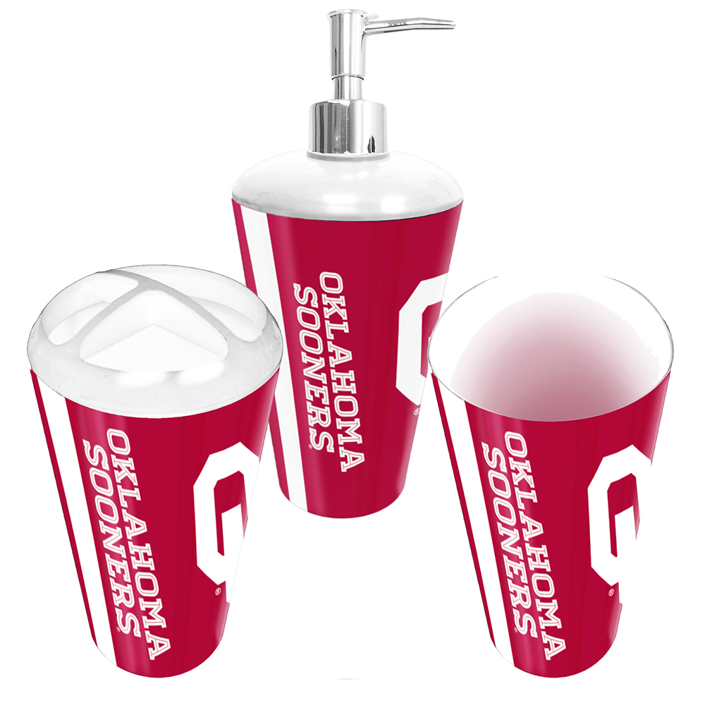 Northwest Company NOR-1COL958000012RET Oklahoma Sooners Ncaa Bath Tumbler, Toothbrush Holder & Soap Pump [3pc Set]