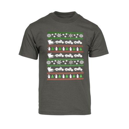 Biker Santa - Mens Christmas Santa Biker Sleigh Short-Sleeve T-Shirt