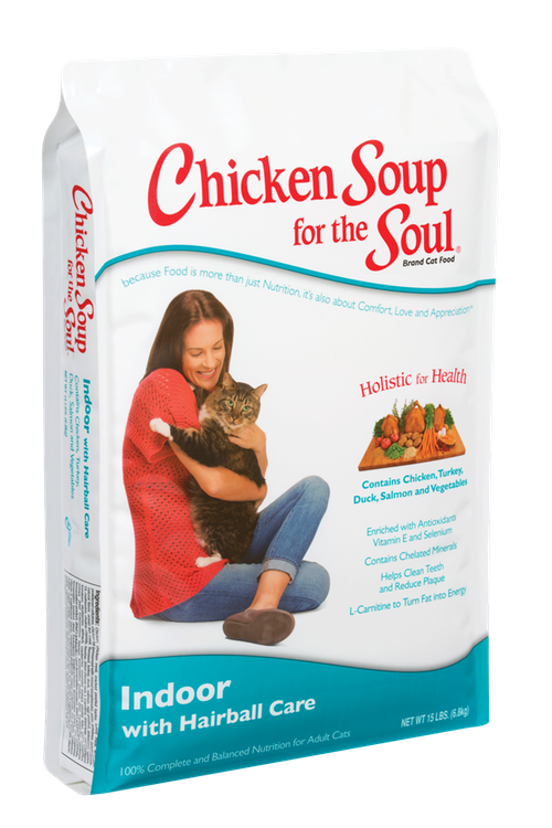 Click here to buy Chicken Soup for the Soul Indoor with Hairball Care Dry Cat Food 15lb by Chicken Soup for the Soul.