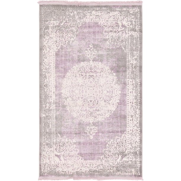 Contemporary Classique Collection Area Rug In Lavender Color And Rectangle Round Runner Square Shape Walmart Com Walmart Com