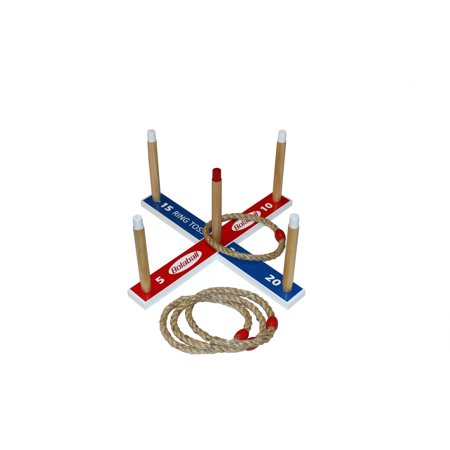 Bolaball High Quality Wood Ring Toss, Family Fun Indoor or Outdoor Play, Four Durable Rope Rings, Includes Carrying
