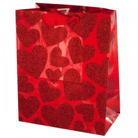 Bulk Buys KL18053 Small Red Glitter Hearts Gift Bag, Pack of 48