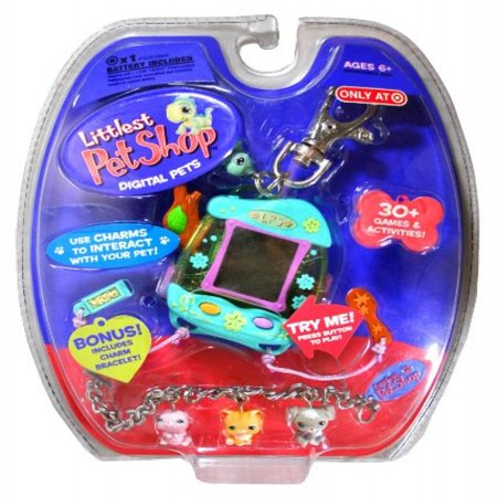 Hasbro Year 2006 Littlest Pet Shop Digital Pets Series Virtual Game   Green Iguana Digital Game With Charms To Interact With Your Pet    Food Tray   To Feed Your Pet    Brush    Clip For On The Go Fun And