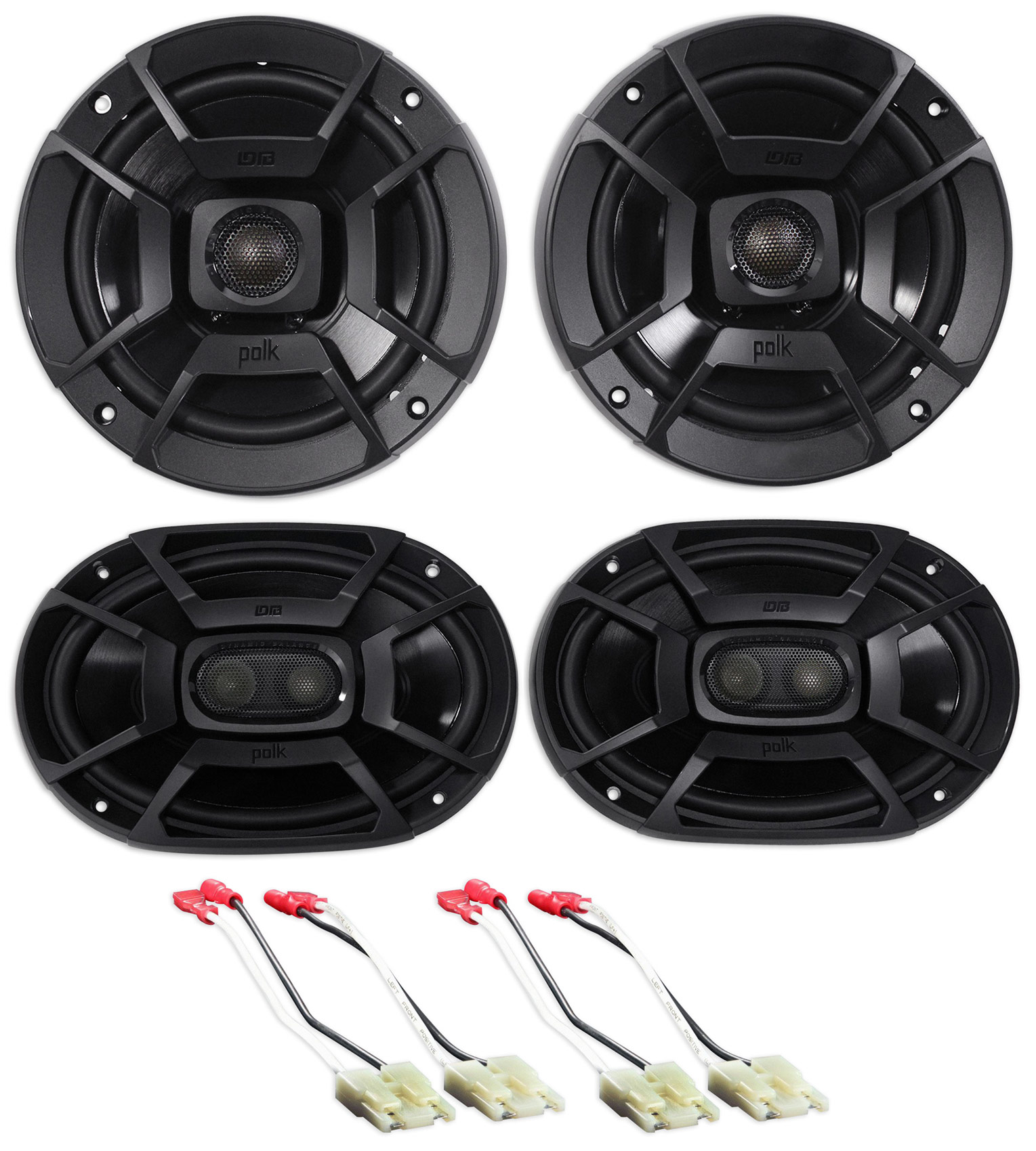 99-04 Jeep Grand Cherokee Polk Audio Front+Rear Factory Speaker Replacement Kit by Polk Audio