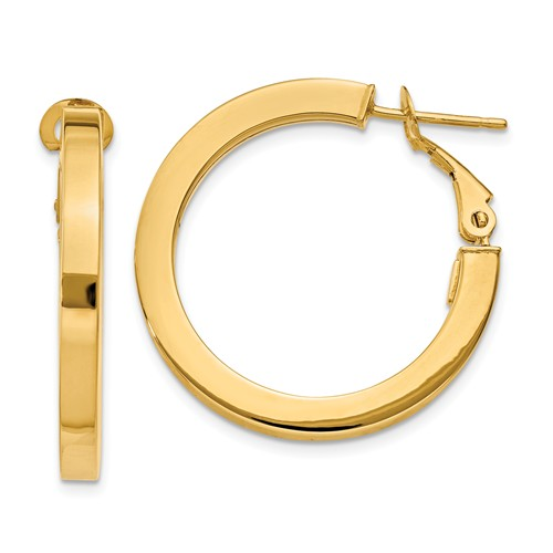 14k Yellow Gold 0.8IN Long 3.00mm Omega Back Hoop Earrings