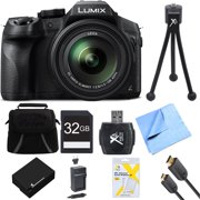 Panasonic DMCFZ300K LUMIX FZ300 4K 24X F2.8 Digital Camera Bundle w/ Camera, Bag, 32GB SD Card, Battery, Charger, Cloth, 6' HDMI Cable, Card Reader, Mini Tripod and Screen Protectors