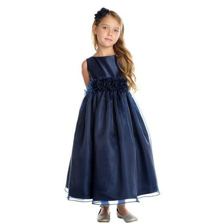 Navy Flower Girl Dress (Big Girls Navy Satin Organza Flower Adorned Christmas Dress)