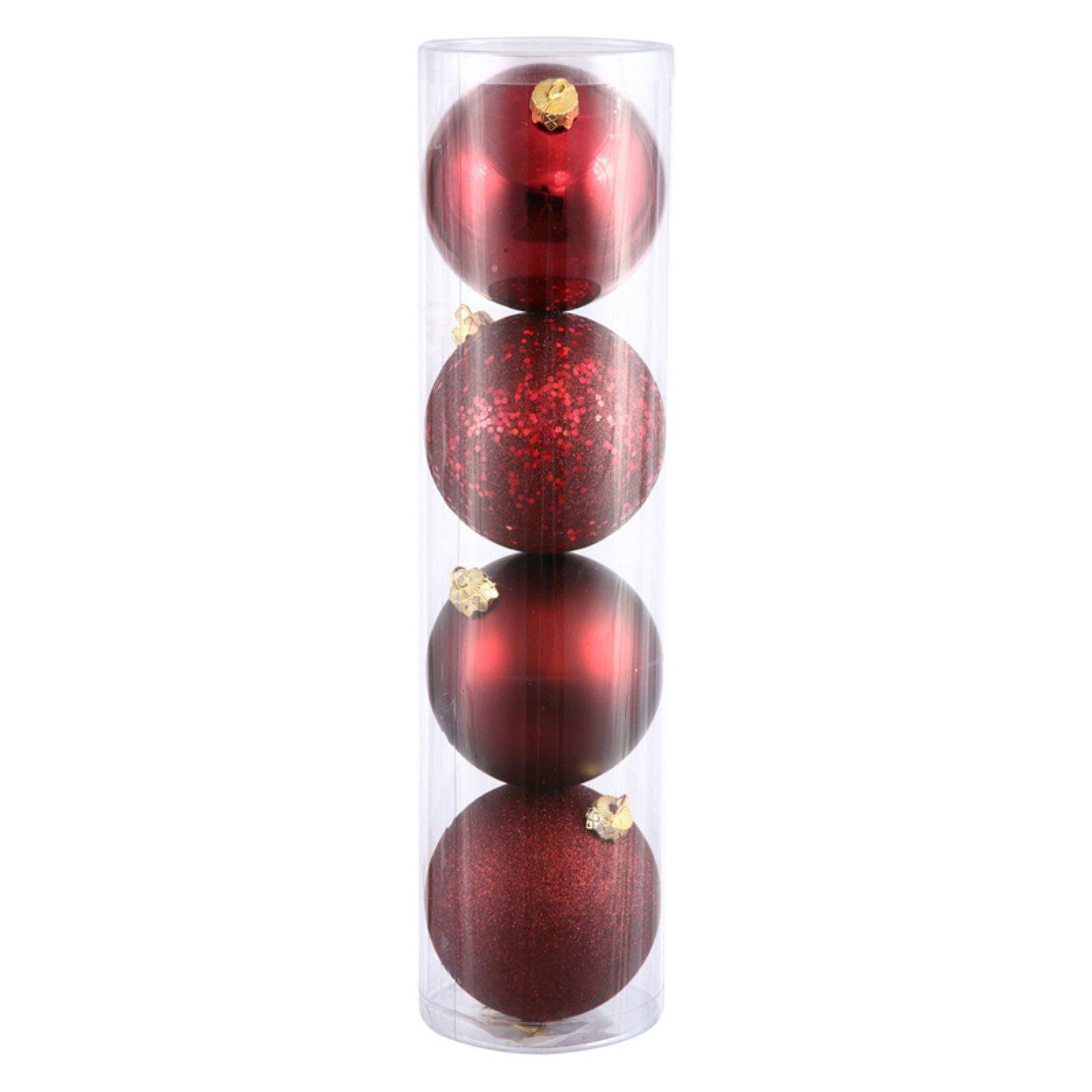 "Vickerman 4.75"" Burgundy 4-Finish Ball Ornament Assortment, Set of 4"