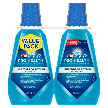 - Crest Pro-Health Multi-Protection Alcohol Free Mouthwash, Clean Mint, 33.8 fl oz (1 L), Pack of 2