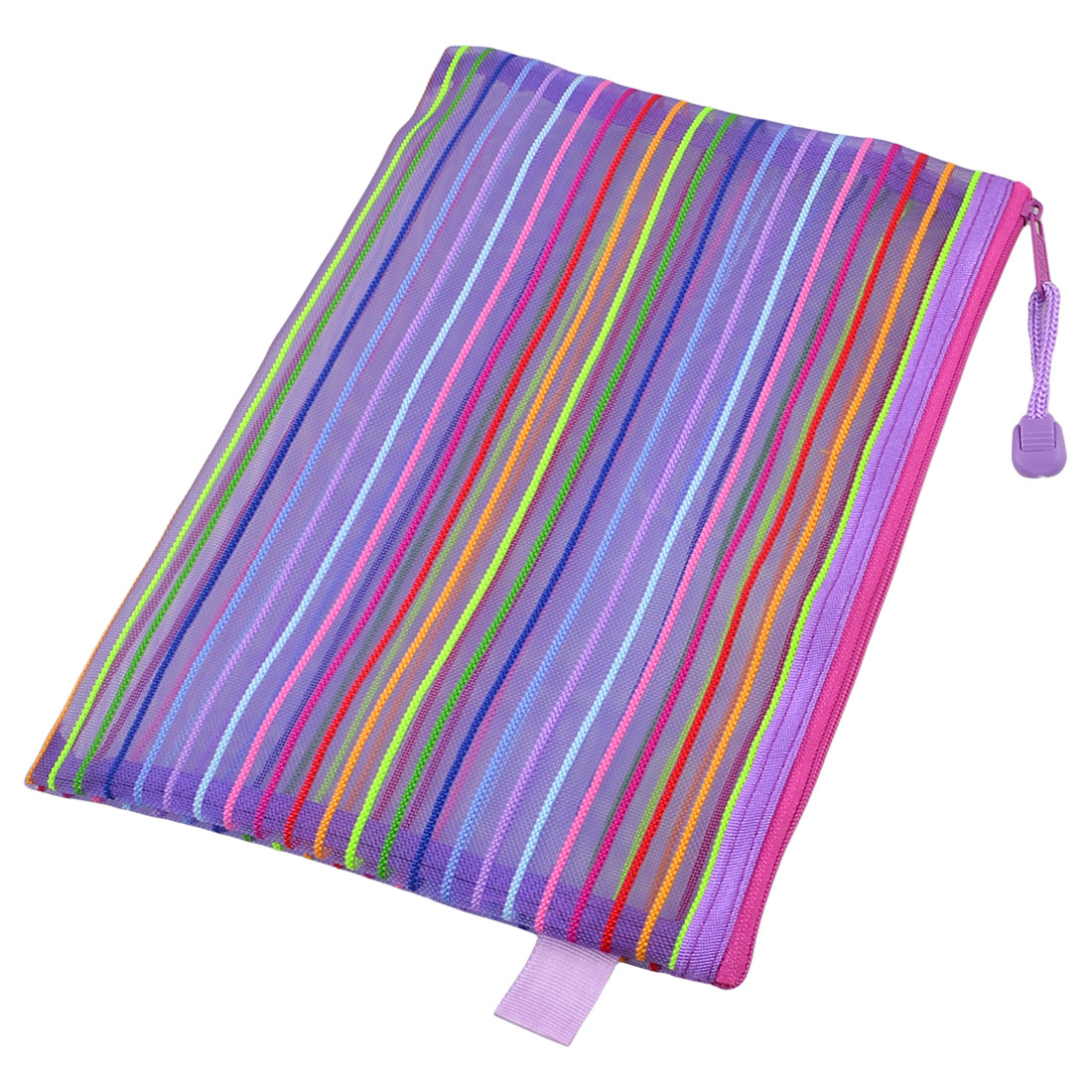 Unique Bargains School Stationery Nylon Mesh Colorful Stripes A5 Paper File Bag