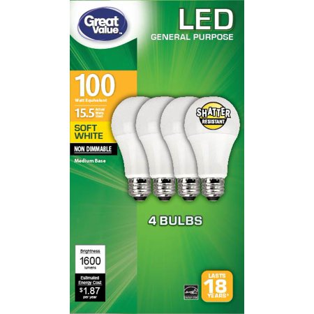 Great Value General Purpose LED Light Bulbs, 100W, Soft White, 4 Count