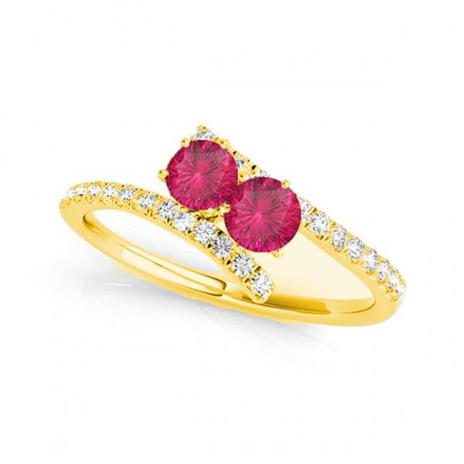 R781-RB-D-.75-14Y-i-1 0.75 14K Yellow Gold Rubilite Two Stone Rings, i-1 Round - image 1 of 1