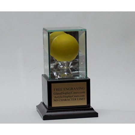 Lacrosse Ball Personalized Glass Display Case with Genuine Solid Black Marble Platform Base & Free Engraving