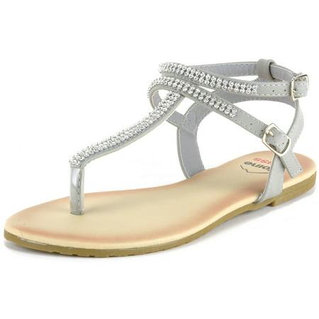 e146f12d6cd3 Alpine Swiss Womens Gladiator Sandals T-Strap Slingback Roman Rhinestone  Flats