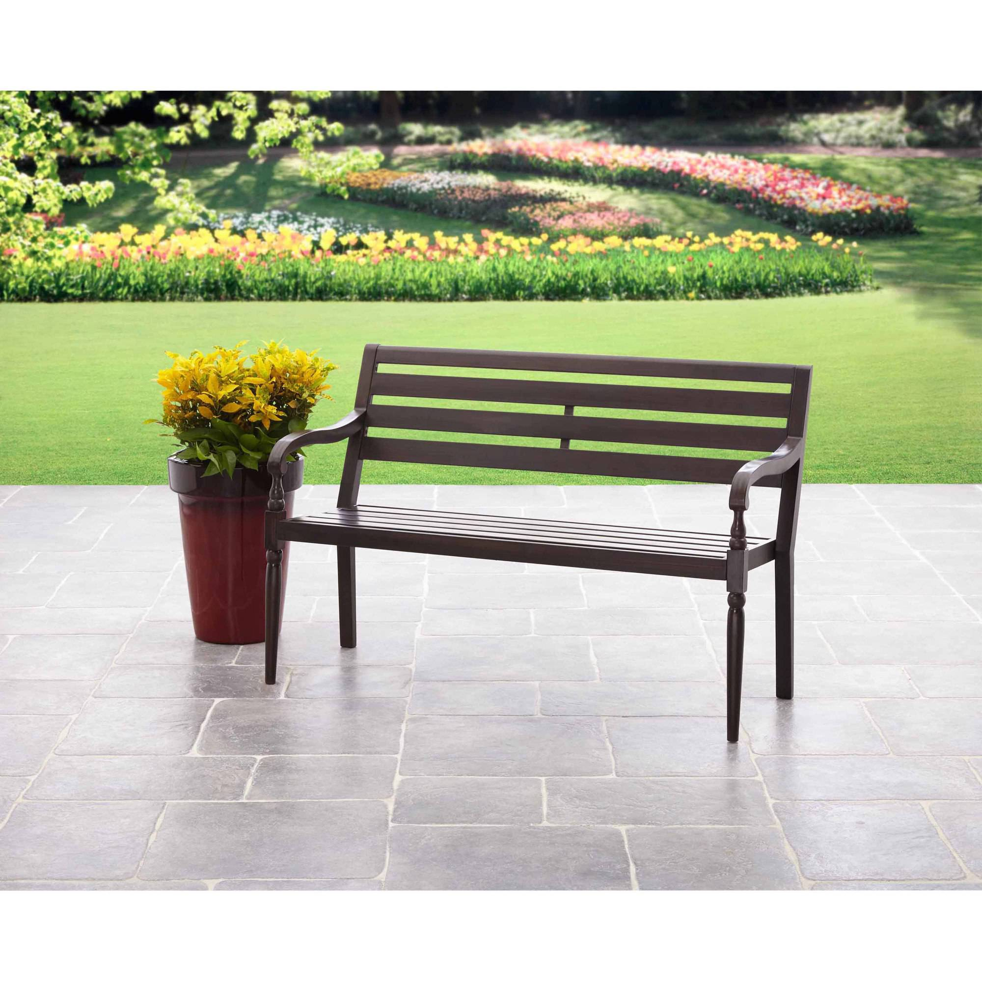 Mainstays Slat Outdoor Garden Bench, Black   Walmart.com