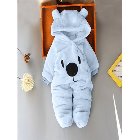 4c49eb35e Newborn Baby Girl Boy Solid Cartoon Bear Velvet Hooded Jumpsuit Romper  Clothes - Walmart.com