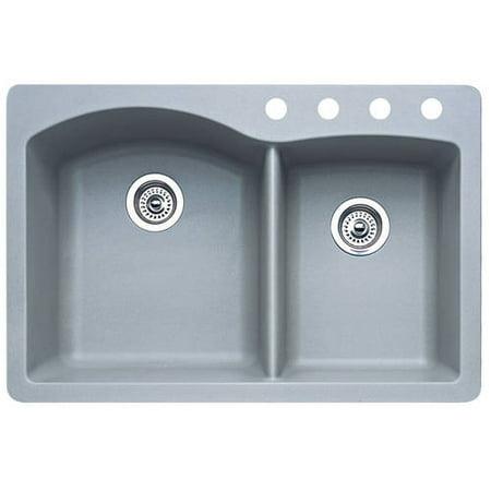 Blanco 440214-4 Diamond 4-Hole Double-Basin Drop-In or Undermount Granite  Kitchen Sink, Metallic Grey
