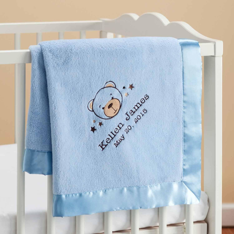 Personalized Sweet Bear Blue Baby Blanket