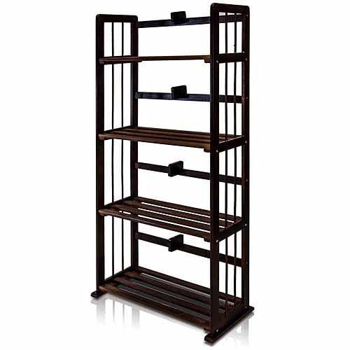 Furinno FNCL-33002 Pine Solid Wood 4-Tier Bookshelf