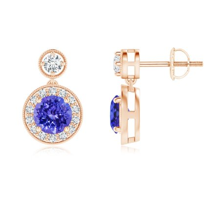 Dangling Tanzanite and Diamond Halo Earrings with Milgrain in 14K Rose Gold (5mm Tanzanite) - SE1066TD-RG-AAAA-5