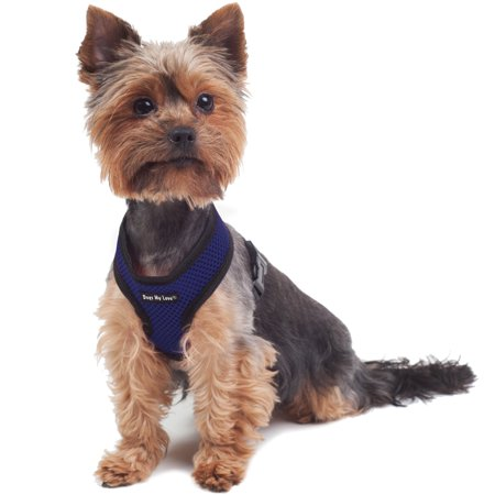 Dogs My Love Soft Mesh Walking Harness for Dogs and Puppies 6 Sizes Blue (XS (Neck Max: 9