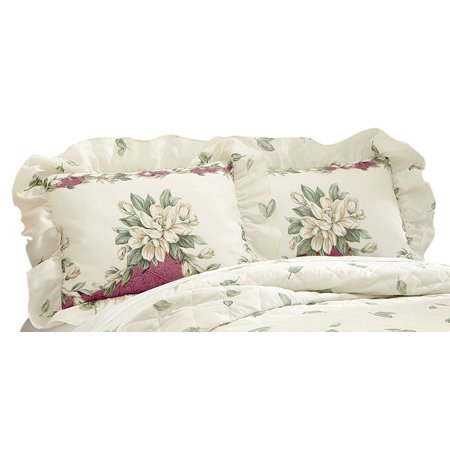 Magnolia Garden Floral Ruffle Pillow Sham, Sham, Burgundy