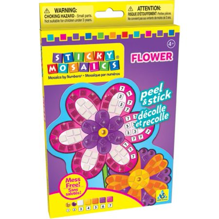 Sticky Mosaics Flower Play Set, Follow the simple numbered legend to complete the picture with sticky foam pieces! By The Orb Factory